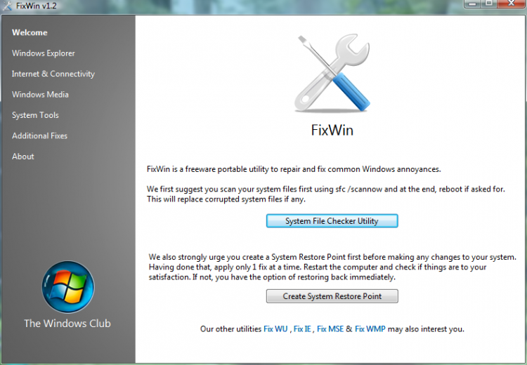 Review: FixWin \u2013 repair common Windows 7 (and Vista) issues and