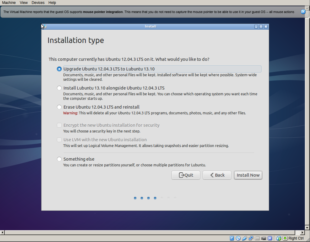 LUbuntu installation screen